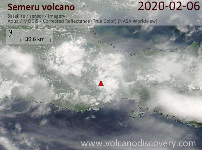 Спутниковое изображение вулкана Semeru  6 Feb 2020
