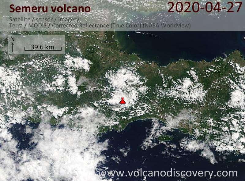 Satellite image of Semeru volcano on 27 Apr 2020