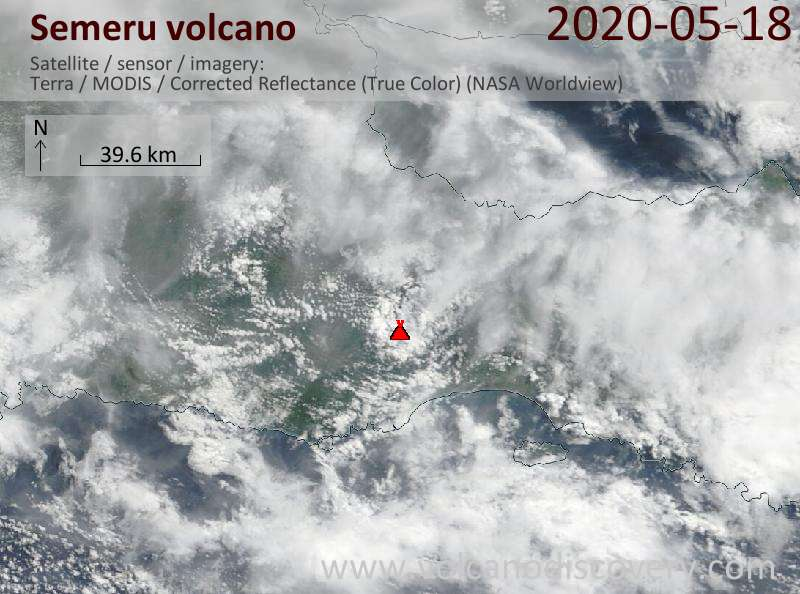 Satellite image of Semeru volcano on 18 May 2020