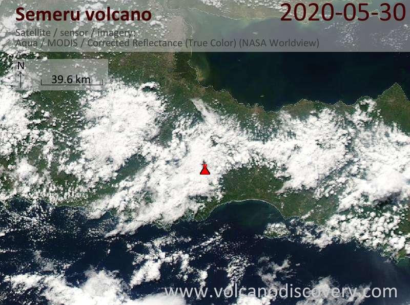 Satellite image of Semeru volcano on 30 May 2020