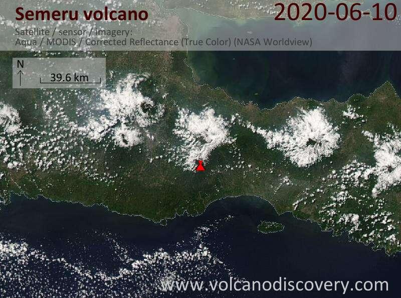 Satellite image of Semeru volcano on 10 Jun 2020