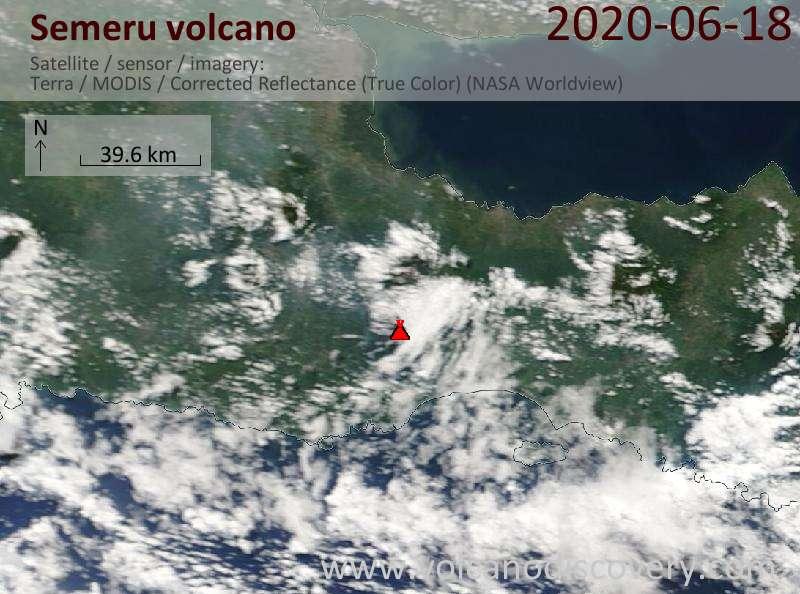 Satellite image of Semeru volcano on 18 Jun 2020