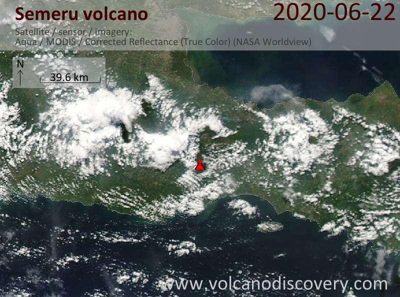 Satellite image of Semeru volcano on 22 Jun 2020