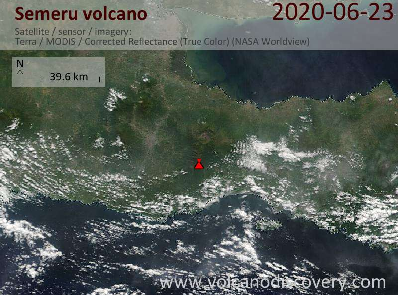 Satellite image of Semeru volcano on 23 Jun 2020