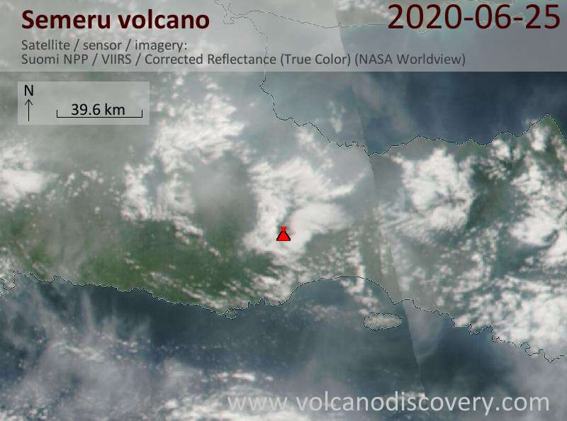 Satellite image of Semeru volcano on 26 Jun 2020