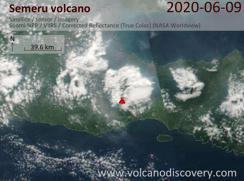 Satellite image of Semeru volcano on  9 Jun 2020