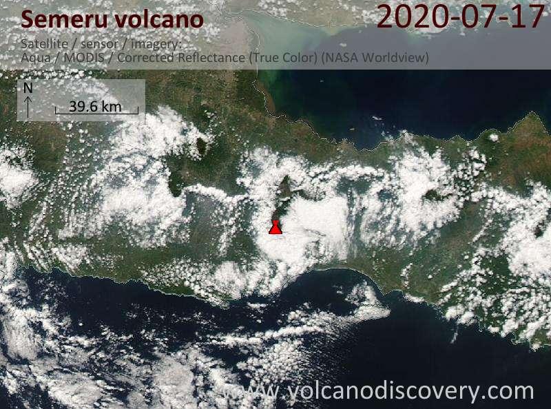 Satellite image of Semeru volcano on 17 Jul 2020