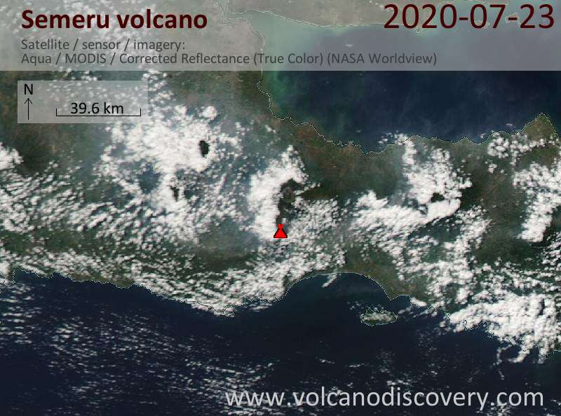 Satellite image of Semeru volcano on 23 Jul 2020