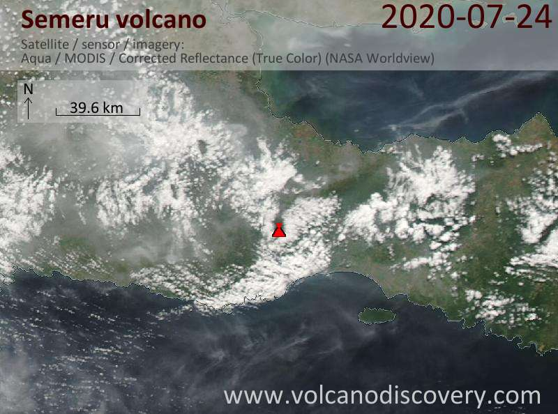 Satellite image of Semeru volcano on 24 Jul 2020