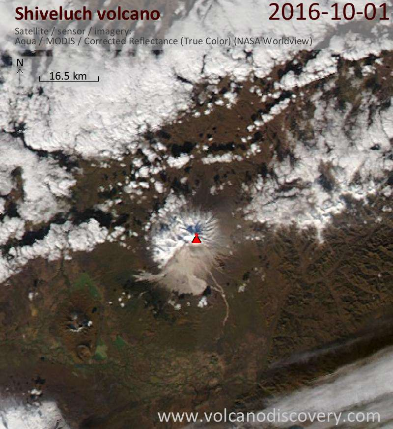 Satellite image of Shiveluch volcano on  1 Oct 2016