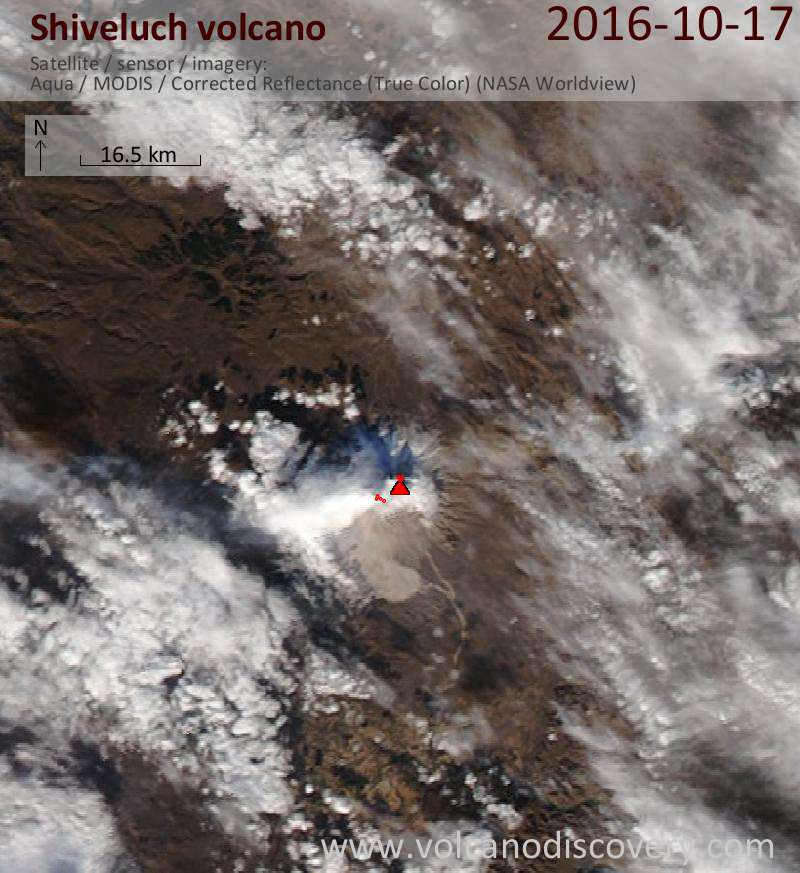 Satellite image of Shiveluch volcano on 18 Oct 2016