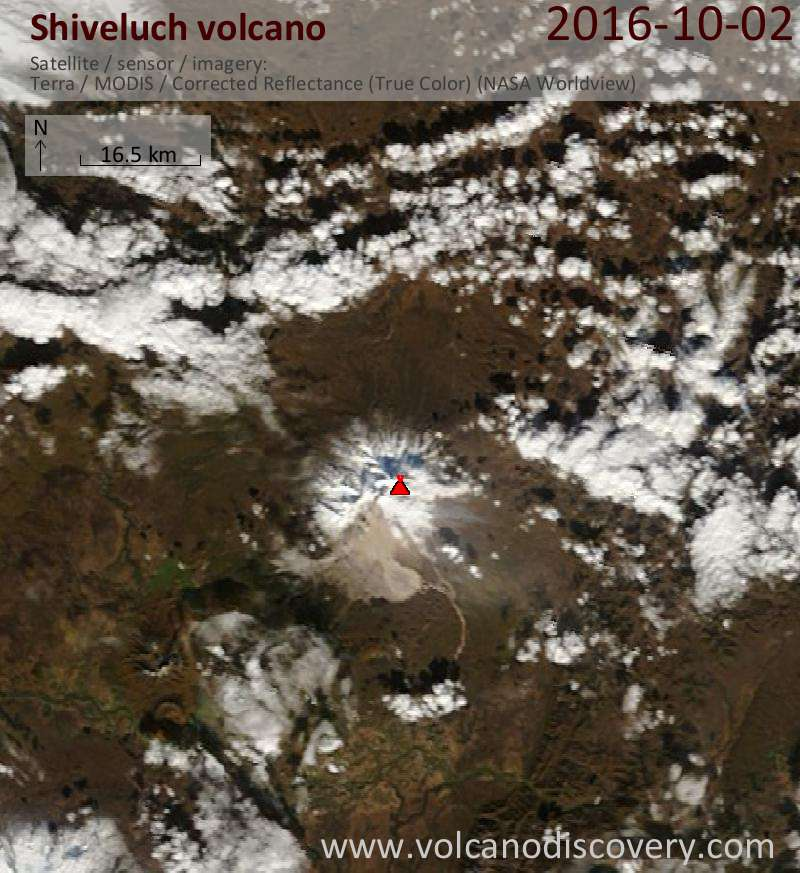 Satellite image of Shiveluch volcano on  2 Oct 2016