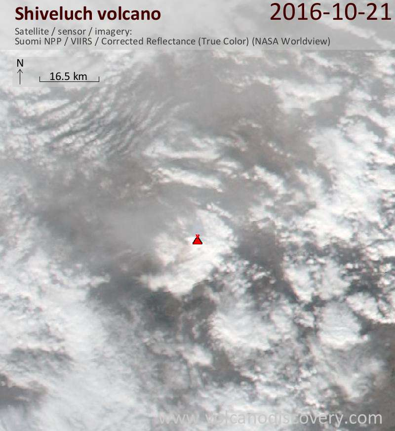 Satellite image of Shiveluch volcano on 21 Oct 2016