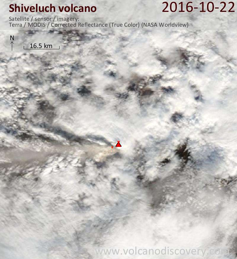 Satellite image of Shiveluch volcano on 23 Oct 2016