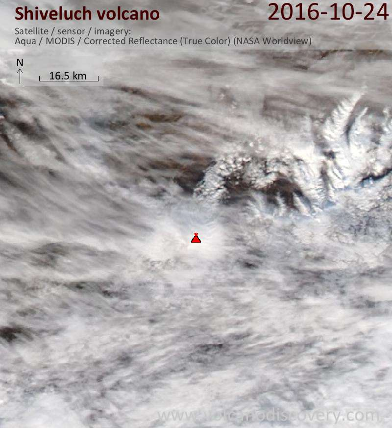 Satellite image of Shiveluch volcano on 24 Oct 2016