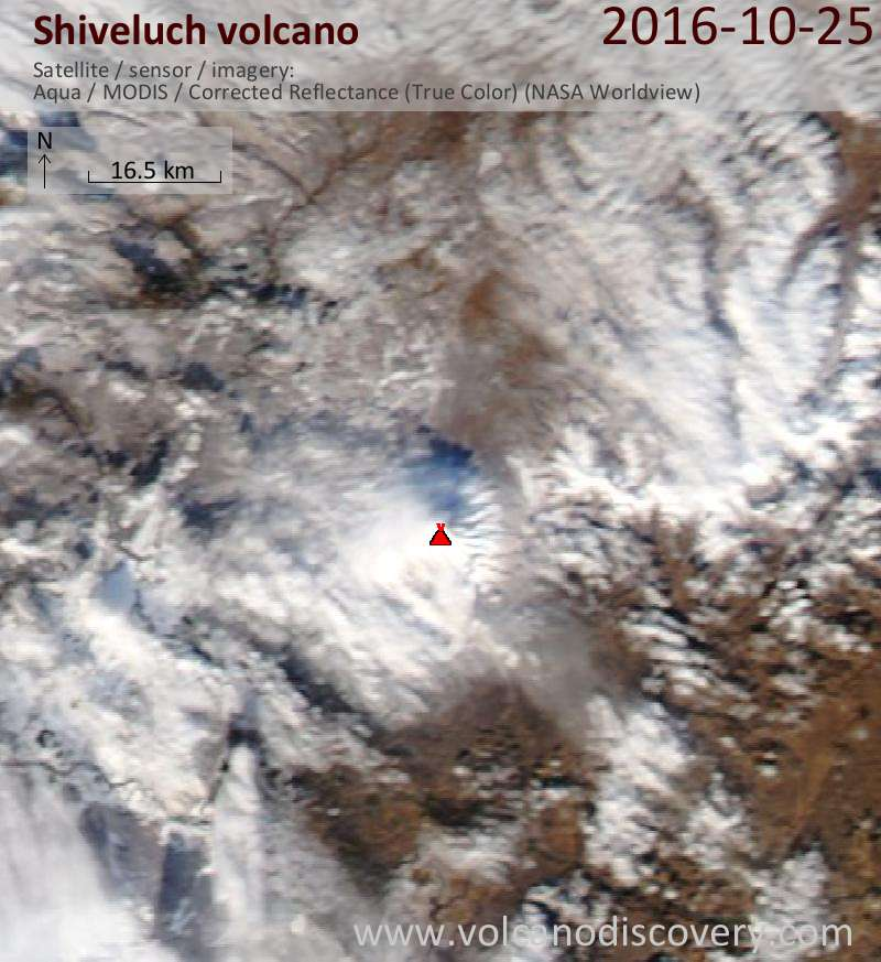 Satellite image of Shiveluch volcano on 26 Oct 2016
