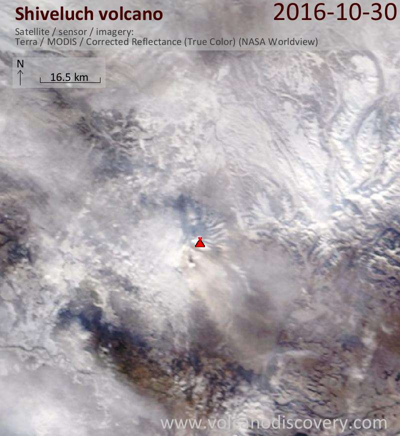Satellite image of Shiveluch volcano on 30 Oct 2016