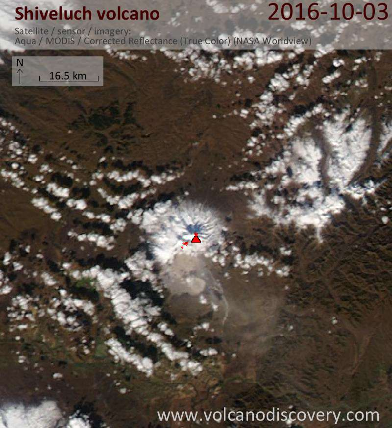 Satellite image of Shiveluch volcano on  4 Oct 2016