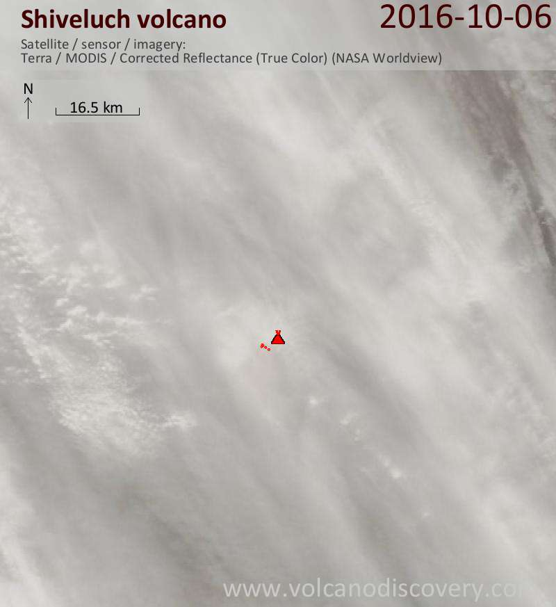 Satellite image of Shiveluch volcano on  7 Oct 2016