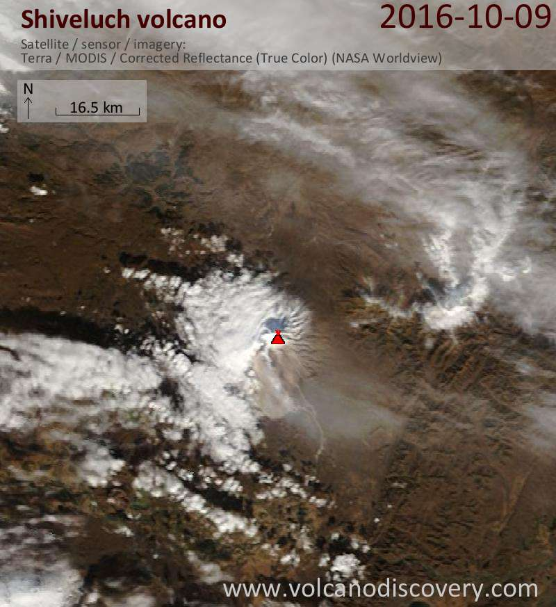 Satellite image of Shiveluch volcano on  9 Oct 2016