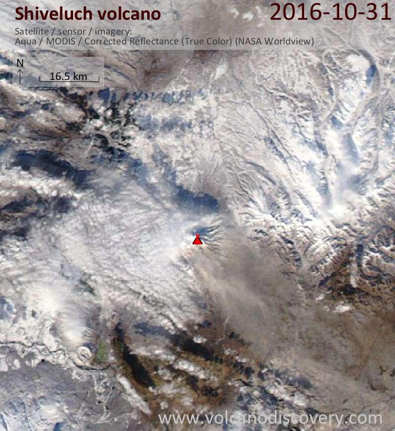 Satellite image of Shiveluch volcano on  1 Nov 2016