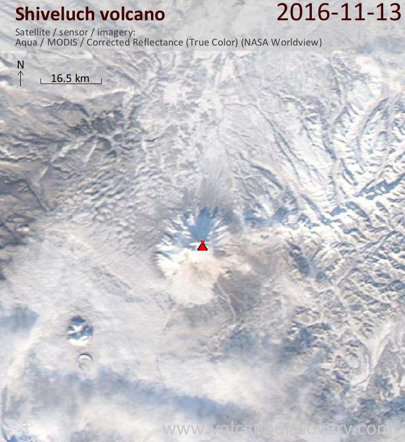 Satellite image of Shiveluch volcano on 13 Nov 2016