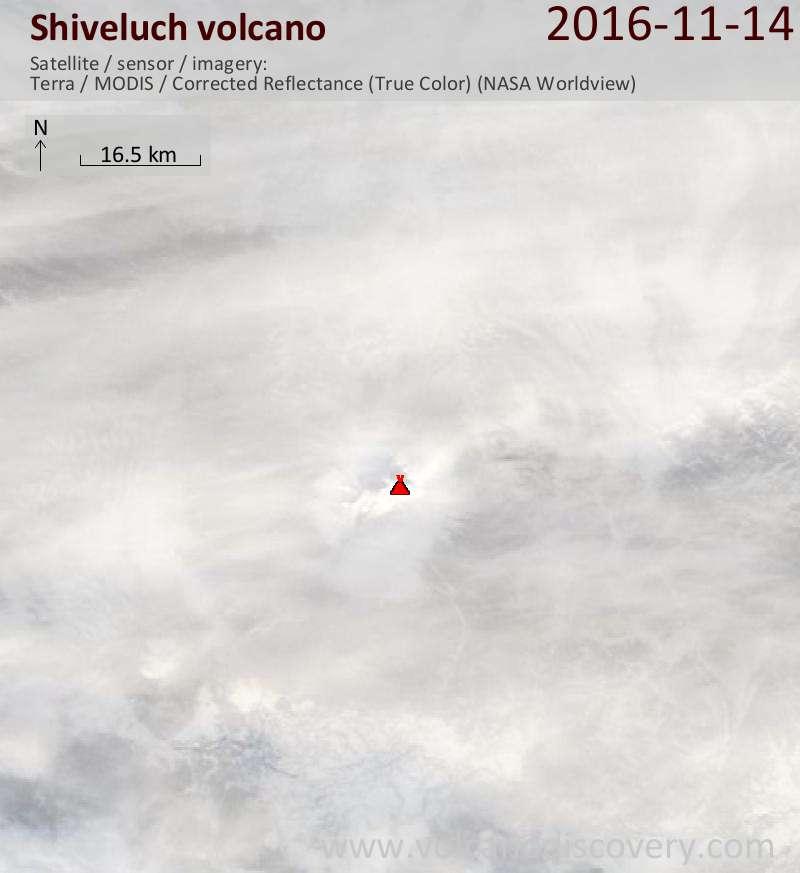 Satellite image of Shiveluch volcano on 14 Nov 2016