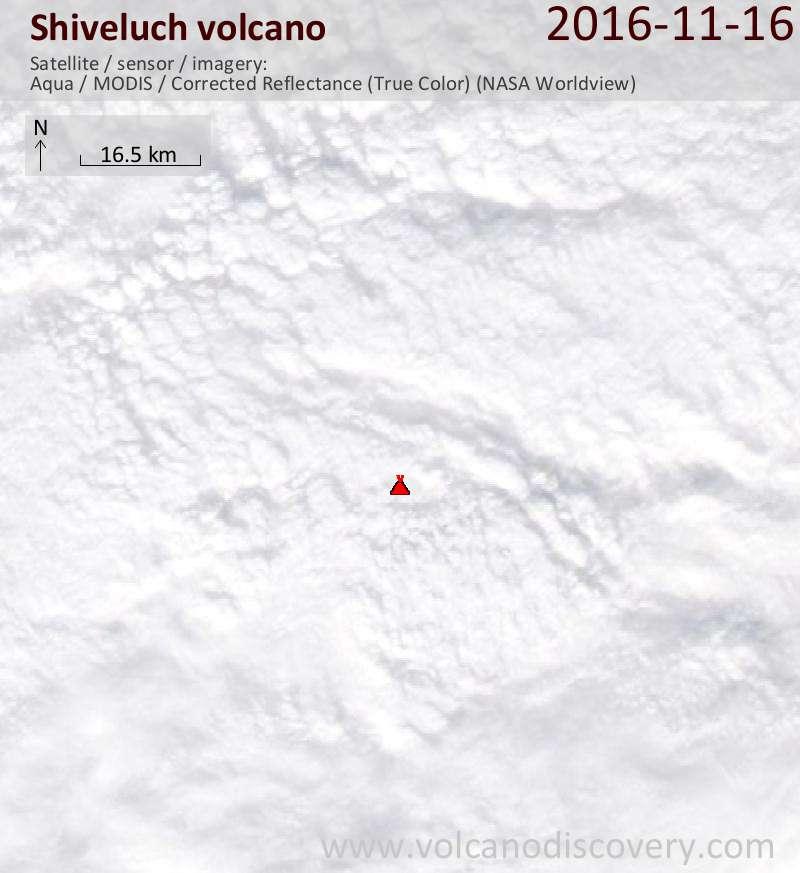 Satellite image of Shiveluch volcano on 16 Nov 2016