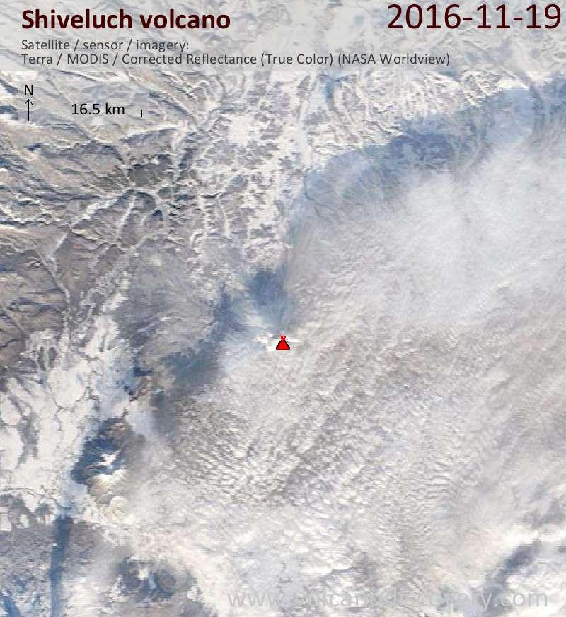 Satellite image of Shiveluch volcano on 19 Nov 2016