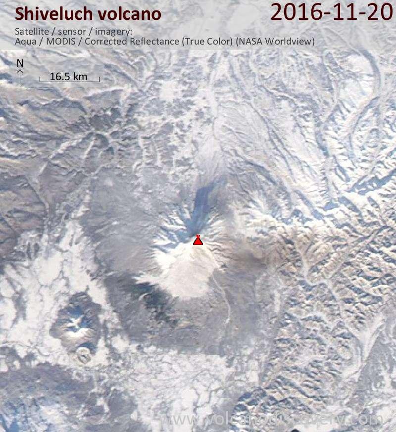 Satellite image of Shiveluch volcano on 20 Nov 2016