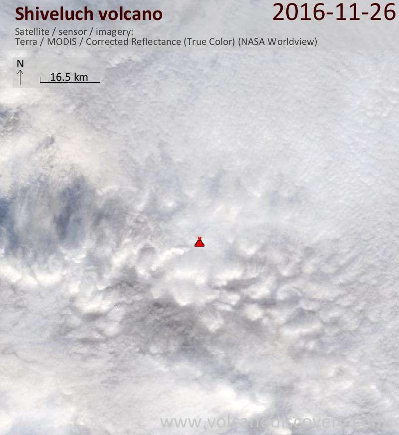Satellite image of Shiveluch volcano on 26 Nov 2016