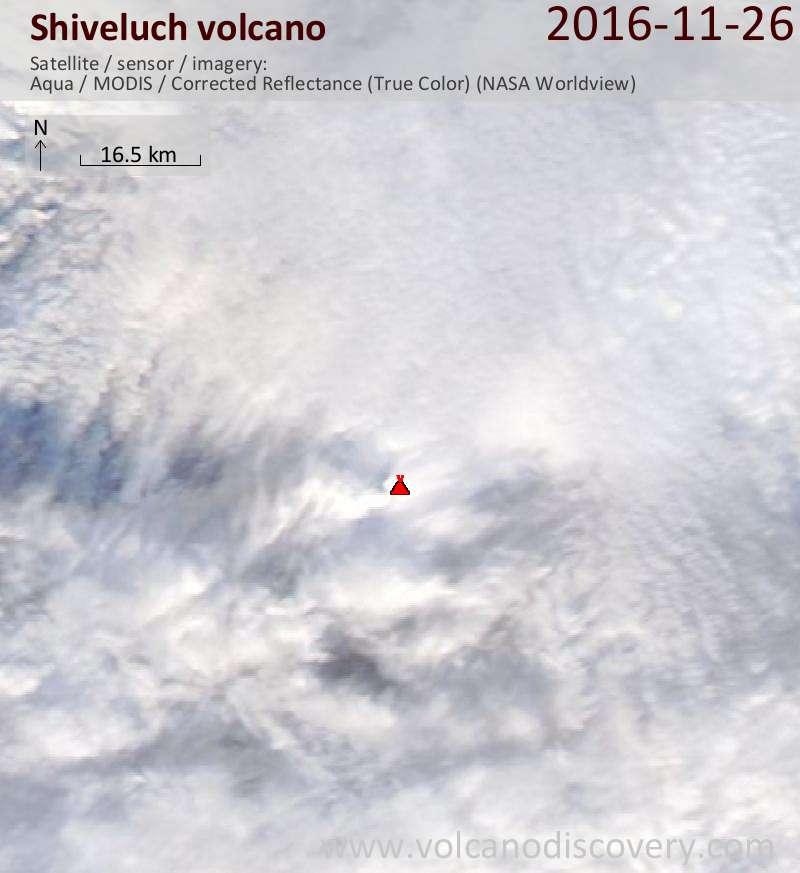 Satellite image of Shiveluch volcano on 27 Nov 2016