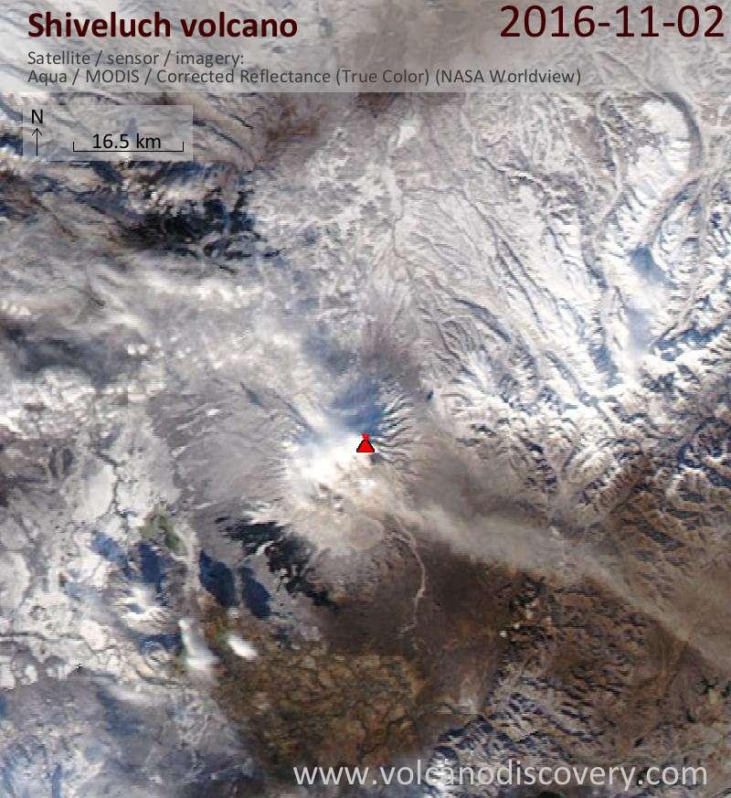 Satellite image of Shiveluch volcano on  3 Nov 2016