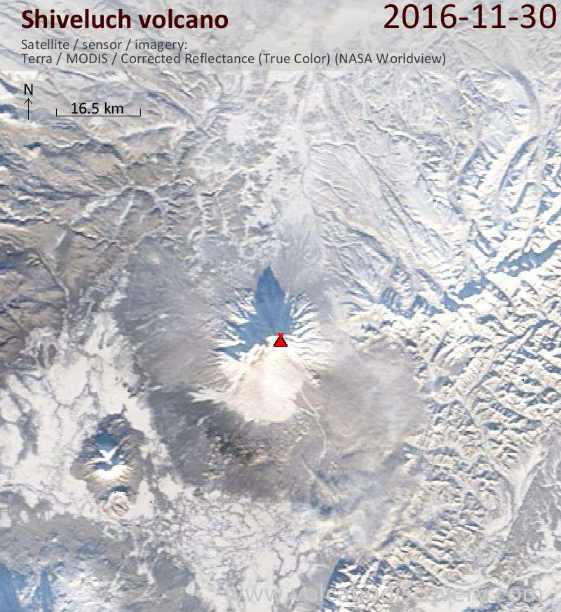 Satellite image of Shiveluch volcano on 30 Nov 2016