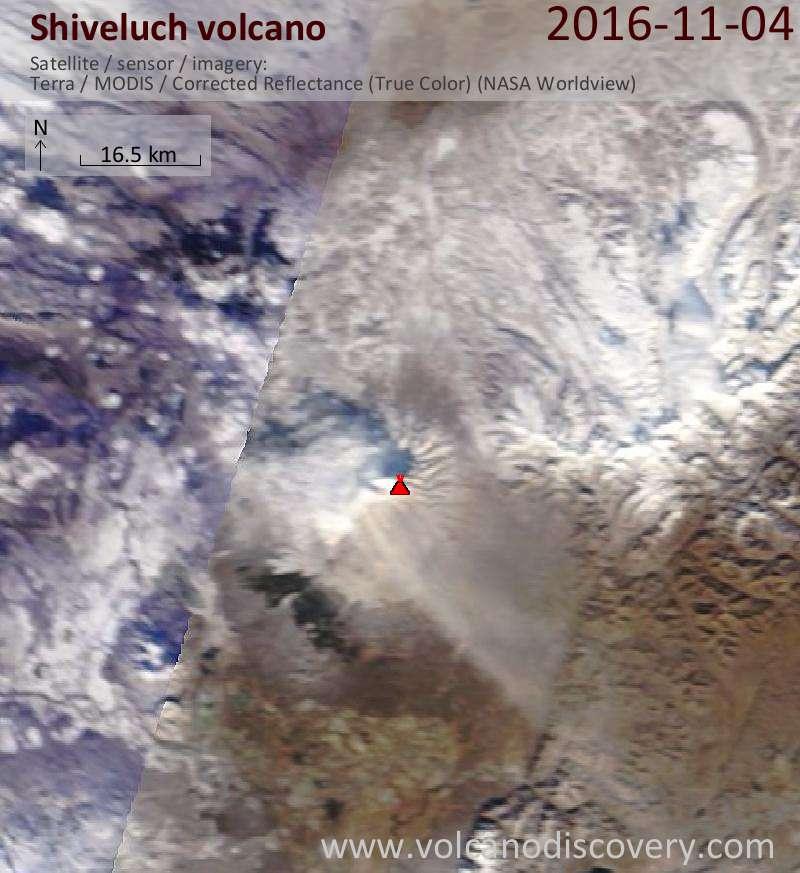 Satellite image of Shiveluch volcano on  4 Nov 2016
