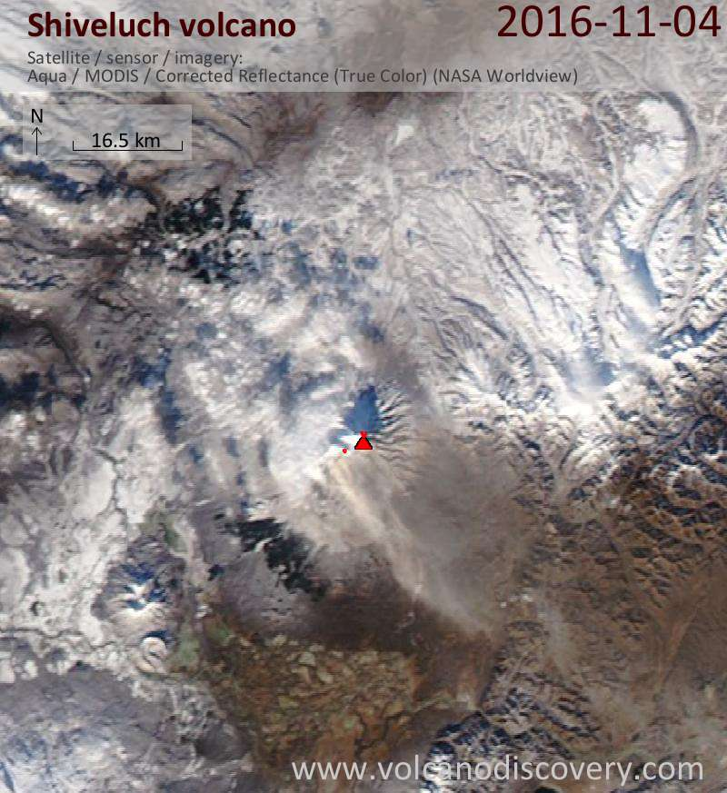 Satellite image of Shiveluch volcano on  5 Nov 2016