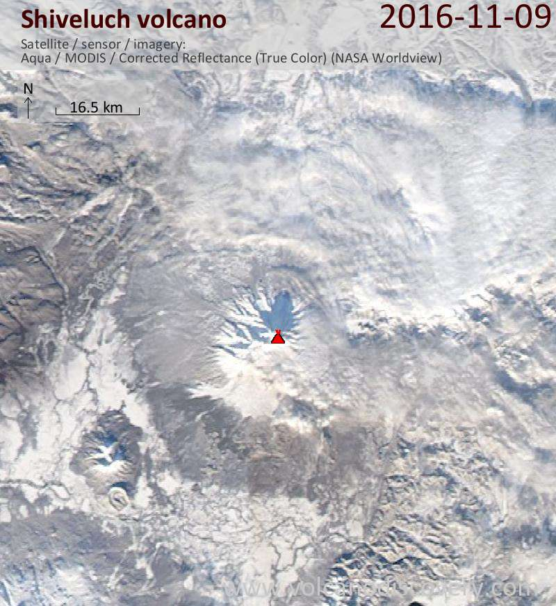 Satellite image of Shiveluch volcano on  9 Nov 2016