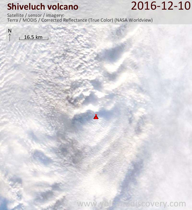 Satellite image of Shiveluch volcano on 10 Dec 2016