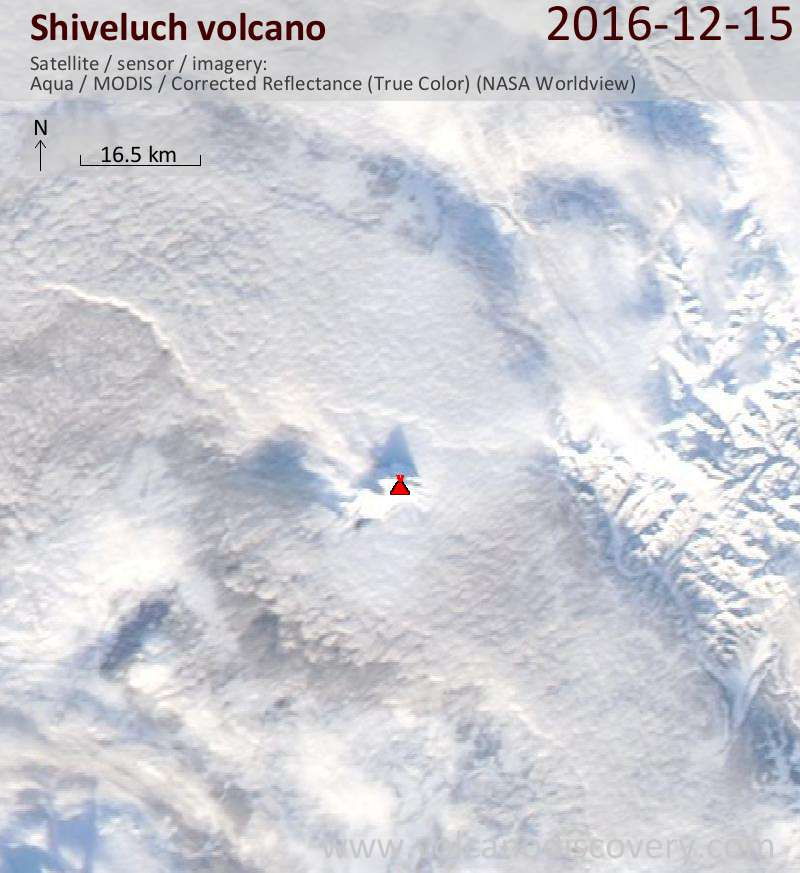 Satellite image of Shiveluch volcano on 15 Dec 2016