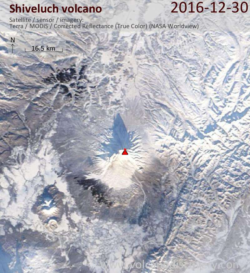 Satellite image of Shiveluch volcano on 30 Dec 2016