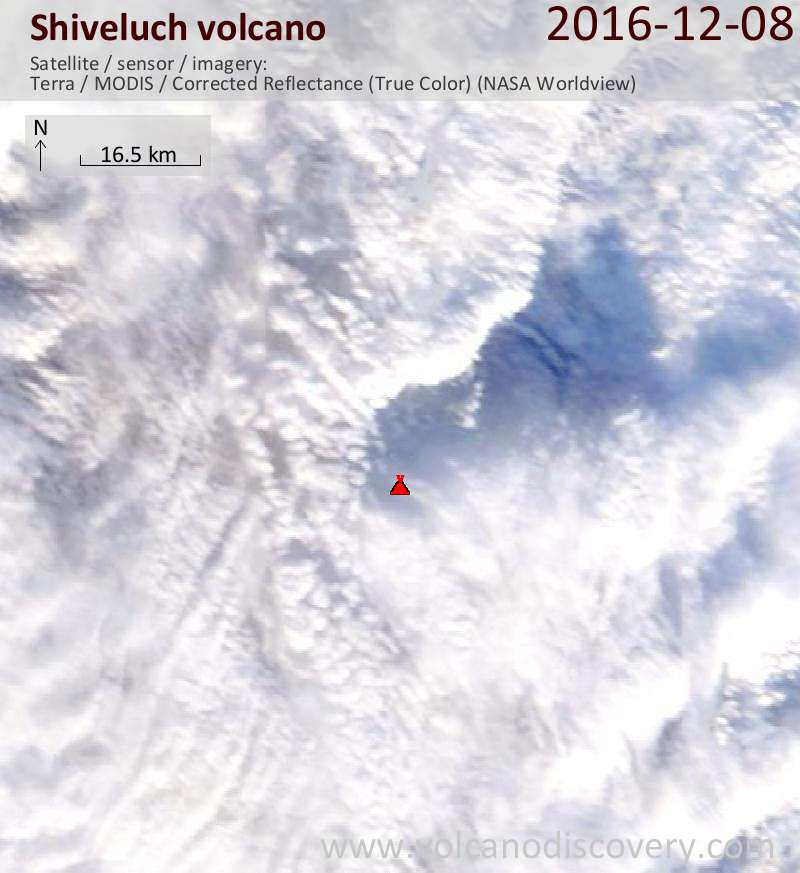Satellite image of Shiveluch volcano on  8 Dec 2016