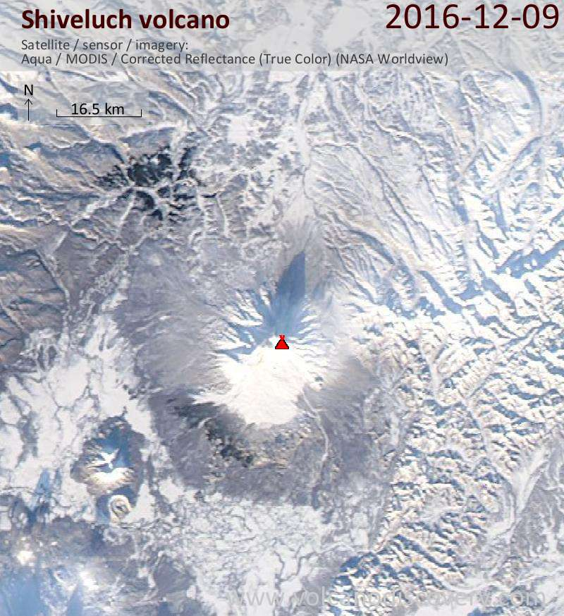 Satellite image of Shiveluch volcano on  9 Dec 2016