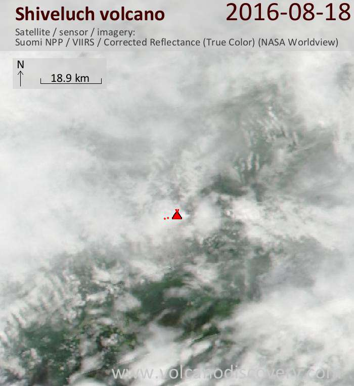 Newest satellite image of Shiveluch