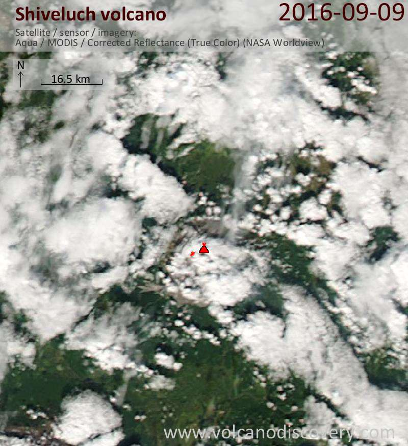 Satellite image of Shiveluch volcano on 10 Sep 2016