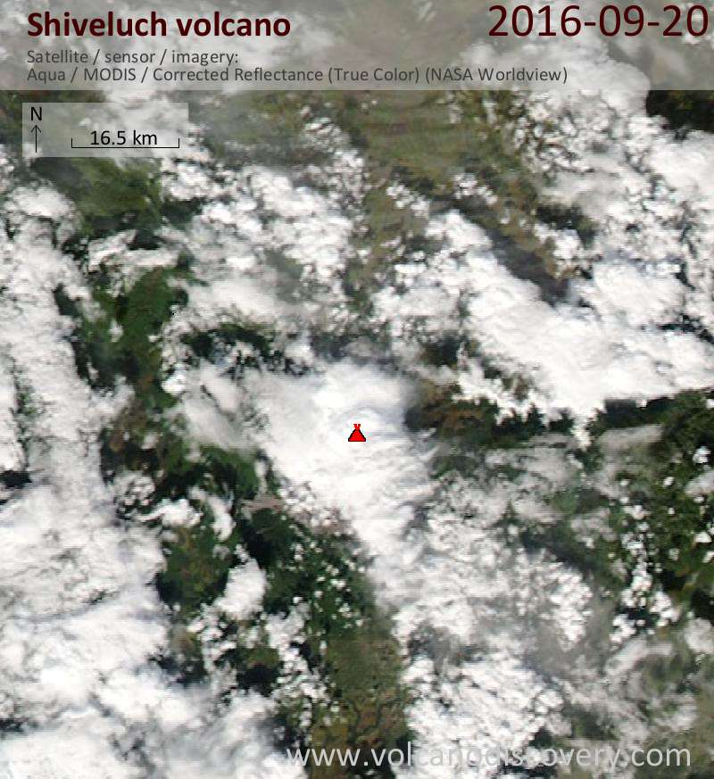 Satellite image of Shiveluch volcano on 20 Sep 2016