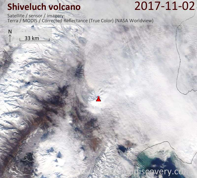 Satellite image of Shiveluch volcano on  2 Nov 2017