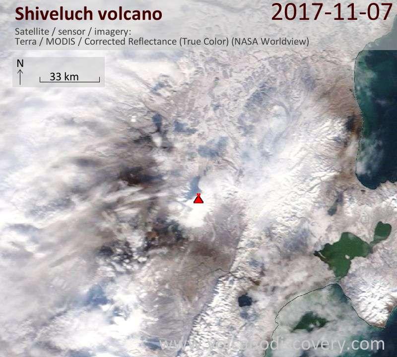 Satellite image of Shiveluch volcano on  7 Nov 2017