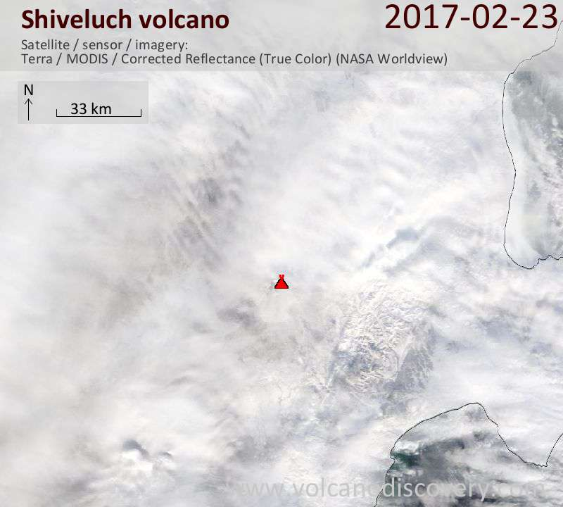 Satellite image of Shiveluch volcano on 24 Feb 2017