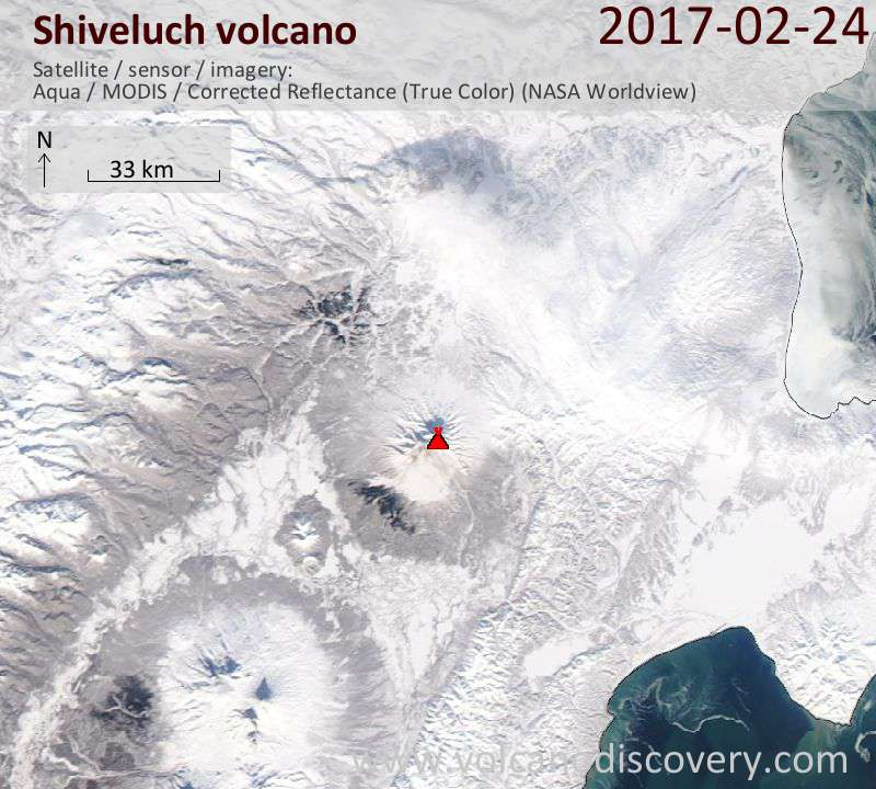 Satellite image of Shiveluch volcano on 25 Feb 2017