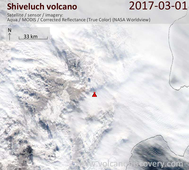 Satellite image of Shiveluch volcano on  1 Mar 2017